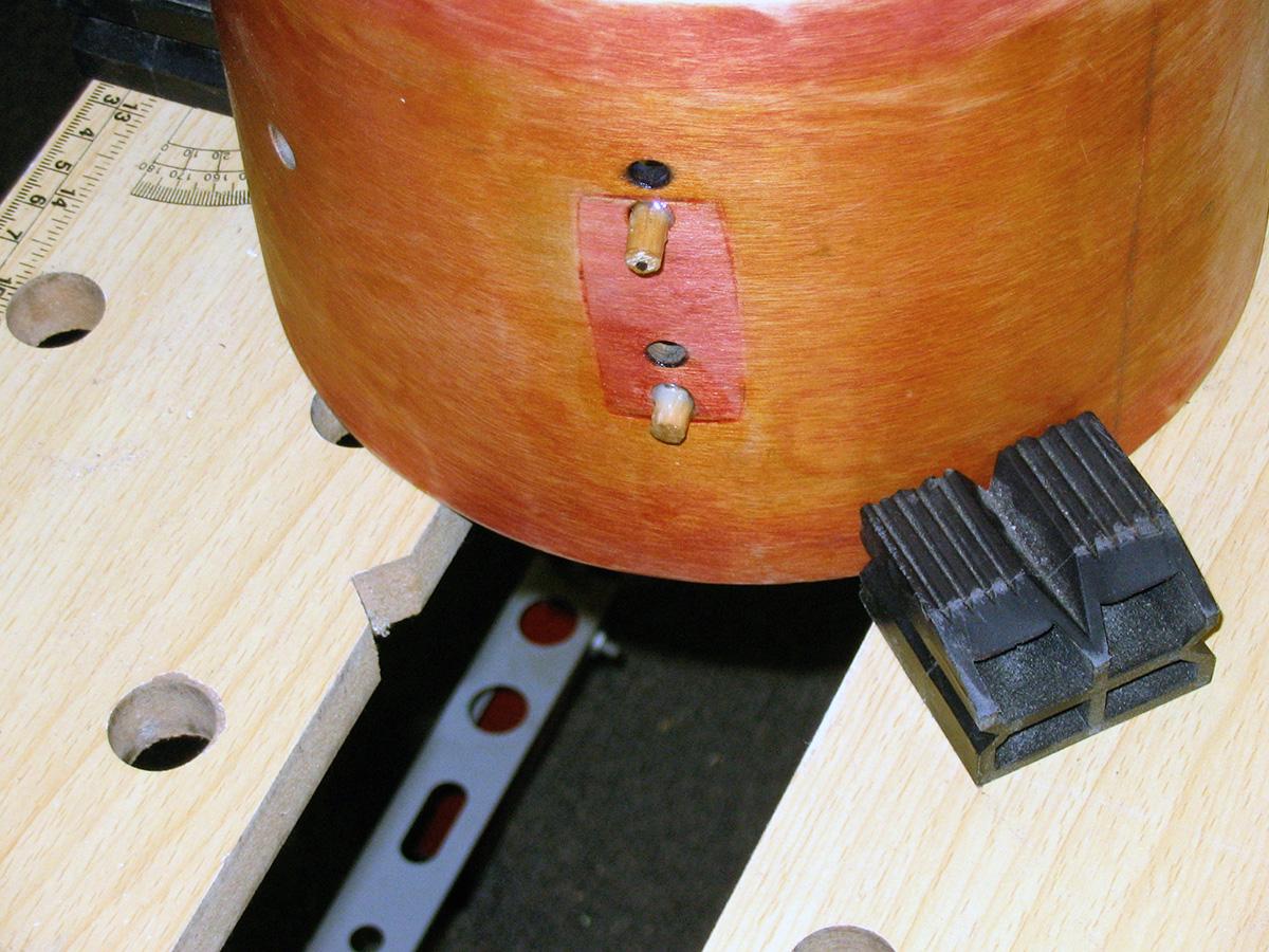 """Rogers 8"""" shell preparation for sanding."""