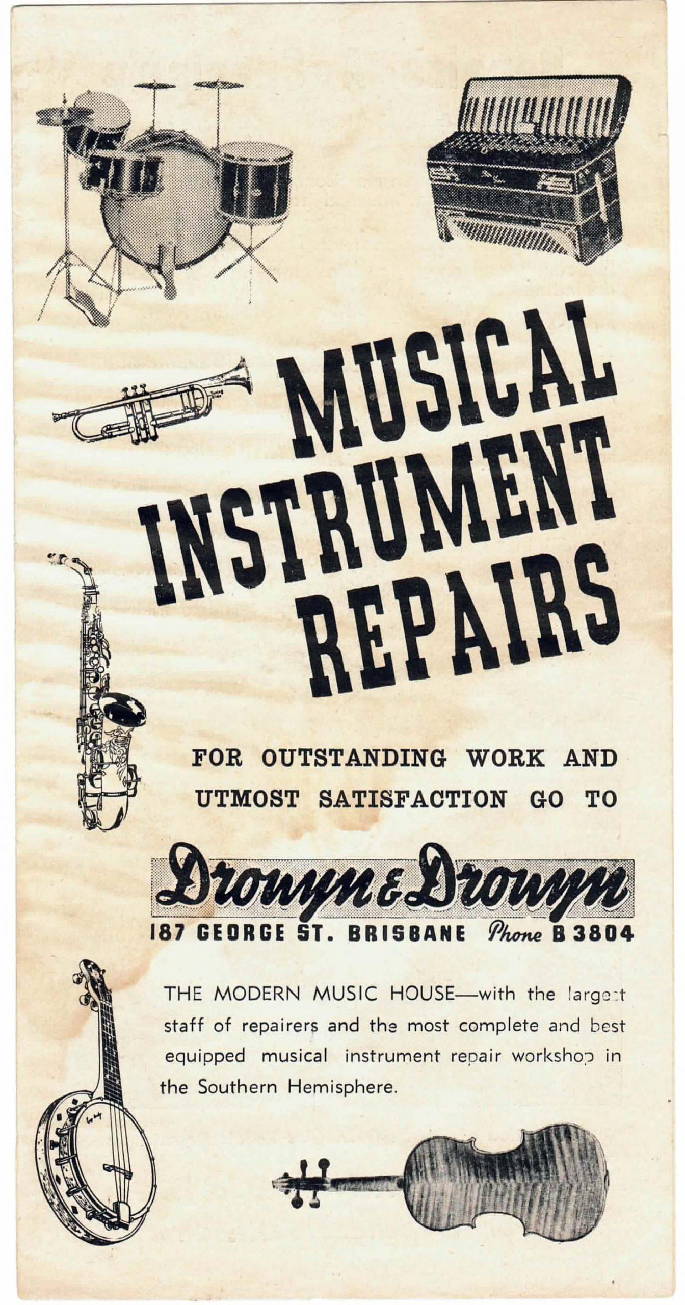 Drouyn & Drouyn musical instrument repair brochure